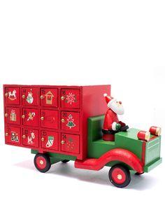 Red Santa Lorry Wooden Advent Calendar
