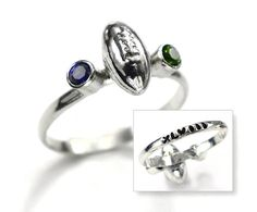 Seahawks Football Superbowl Sterling Silver Ring, Seattle Seahawks Jewelry, NFL football, XLVIII Stacking RIng