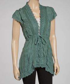 Take a look at this Seafoam Embroidered V-Neck Top by Como No? by Biz on #zulily today!