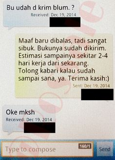 SMS pemberitahuan bahwa barang sudah dikirim.