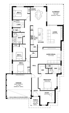 Aveling Homes is an award winning home builder in Perth dedicated to providing customers with quality homes and the highest levels of customer service. Floor Plan 4 Bedroom, Display Homes, Home Builders, Perth, Future House, Building A House, House Plans, New Homes, Floor Plans