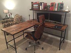 "Amazon.com: Rustic Reclaimed Barn Wood L Desk Table - Solid Oak W/ 28"" Black Iron Pipe legs.: Handmade"