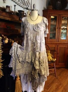 Luv Lucy Boho Crochet Dress Stormy Weather by LuvLucyArtToWear. Moda Vintage, Vintage Lace, Estilo Hippie, Hippie Boho, Boho Gypsy, Crochet Clothes, Diy Clothes, Crochet Dresses, Dress Up