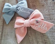Floral Embroidery, Hand Embroidery, Types Of Bows, Large Hair Bows, Bow Bow, Custom Bows, Baby Bows, Baby Headbands, Handmade Hair Bows