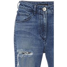 3X1     Distressed Split Seam Skinny Jeans (€240) ❤ liked on Polyvore featuring jeans, destructed skinny jeans, skinny jeans, destroyed skinny jeans, ripped jeans and ripped skinny jeans