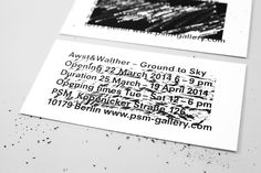 Awst & Walther - Invitation card for the Awst & Walther. Ground to sky exhibition at the PSM gallery. Scratch invitation / business card design.