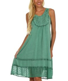 Green Embroidered Dress - Women by Sakkas #zulily #zulilyfinds