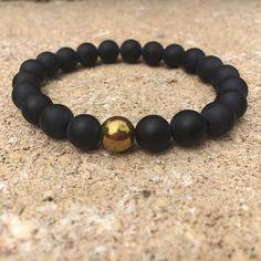 Gemstone Bracelet Mens Womens Matte Black Onyx Labradorite Sterling Silver 161