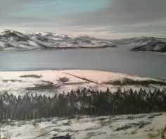 Lago a gennaio 80x80 cm Luigi Torre painter 2016