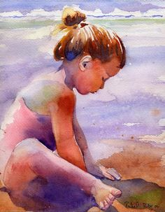 Girl art Child Children Girl Ocean Sea Beach Landscape art Print of my Watercolor Painting