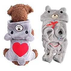 Puppy Dog Pet Winter Warm Fleece Hoodie Jumpsuit Jacket Coat Outfit Sweatshirt Clothes (L, Grey) *** Click on the image for additional details.