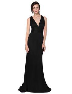 HE09008BK06, Black, 4US, Ever Pretty Trailing V-neck Ruffles Cross Back Empire Waist Bridesmaid Dress 09008