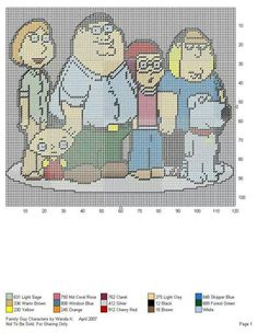 FAMILY GUY CHARACTERS by WANDA K. -- WALL HANGING