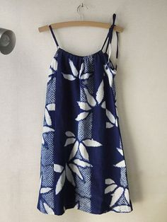 Thank you so much for your visit!  A yukata is a casual kimono, and usually made form cotton. I remade yukata to everyday wear after washing.  This fabric is old, so that it became soft and thin like guaze. I recommend you to wear camisole under this dress.  ※there are creases and stains bust 48cm 18.9in waist 45cm 17.7in body length back 77cm 30.3in  I try to use the material in good condition, but because most of material are old, There may be fade, stains, smells, etc. I hope you…