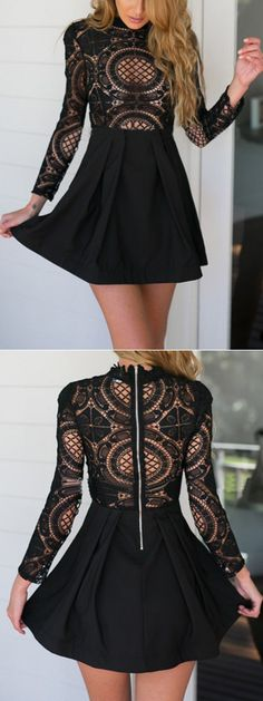 full black dress with Black High Neck Crochet Lace Panel Skater Dress style #fashion