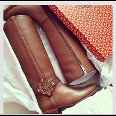 New Tory Burch Amanda Ridingboot New boots,Almond 260, style no: 31128373. Tumbled leather. Come and take it.  Tory Burch Shoes