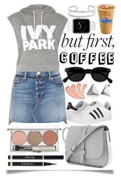 """Coffee Break"" by ittie-kittie ❤ liked on Polyvore featuring Frame, Topshop, adidas, Gap, Chantecaille, Yves Saint Laurent and Belk Silverworks"