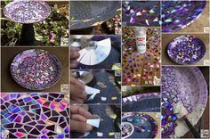 Upcycled DVDs Mosaic Birdbath for Your Garden - http://www.amazinginteriordesign.com/upcycled-dvds-mosaic-birdbath-garden/