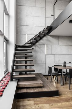 30 Marvelous And Creative Indoor Wood Stairs Design Ideas You Never Seen Before Home Stairs Design, Interior Stairs, Loft Design, Apartment Interior, Apartment Design, Interior Architecture, Male Apartment, Apartment Ideas, Colorful Apartment
