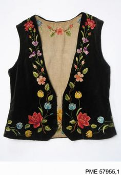 Embroidered vest from Włodawa, Poland. From the… – Polish Folk Costumes / Polskie stroje ludowe - cypchron. Maxi Dress With Jacket, Kids Blouse Designs, Kids Dress Wear, Jacket Style Kurti, Frocks For Girls, Native American Fashion, Russian Fashion, Embroidery Fashion, Folk Costume