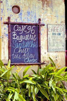 Cafe menu in Hoi An, Vietnam.