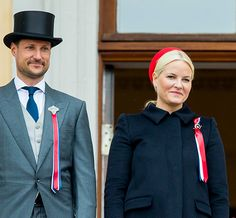 Princess Mette-Marit, May 17, 2017 | Royal Hats: Norwegian National Colors (Red & Blue) Red beret hat, topping her navy coat.