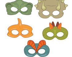 Dinosaurs Printable Coloring Masks dinosaur by HappilyAfterDesigns