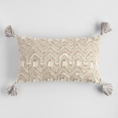 Oversized Ivory Embroidered Tyler Lumbar Pillow by World Market – neutral accent pillow Boho Pillows, Throw Cushions, Outdoor Throw Pillows, Accent Pillows, Decorative Throw Pillows, Bedroom Cushions, Decorative Leaves, Dear Lillie, Affordable Home Decor