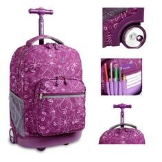 Rolling School Backpack Laptop Hearts Wheeled Bookbag Fashion Travel Roller Bag  #Bookbag