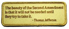 """[Single Count] Custom, Cool & Awesome {4.75"""" x 1.75"""" Inches} Rectangle Patriotic The Beauty of the Second Amendment Text Badge (Tactical Type) Velcro Patch """"Tan"""" mySimple Products"""