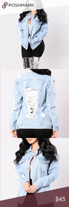 Destroyed Demin Jacket Women size large, fitted Fashion Nova Jackets & Coats Jean Jackets