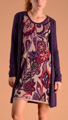 Altea Crew neck dress with front floral panel.
