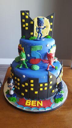PJ Masks cake by Trina Tru Pj Masks Birthday Cake, 4th Birthday Cakes, Superhero Birthday Party, Boy Birthday Parties, Pj Mask Cupcakes, Pj Masks Cakes, Torta Pj Mask, Pj Mask Party Decorations, Pjmask Party