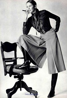 Gaucho pants, 1970. Photo taken just before the chair rolled away and she busted her a@@