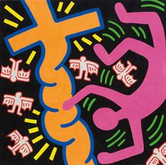Untitled, 1984 Acrylic on Canvas 59 59 inches 150 x 150 cm Modern Artists, Contemporary Artists, Keith Allen, Walt Disney Cartoons, Keith Haring Art, Memphis Art, James Rosenquist, Looney Tunes Characters, Birth And Death