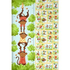 Oolie Growth Chart Panel White/Green/Yellow from @fabricdotcom  Designed by Susybee for Hamil Textiles, this fabric is perfect for quilting, apparel and home décor accents. Colors include brown, green, blue, red, orange, black, and white. Panel measures 29'' x 44''