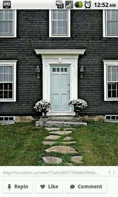 Exterior Update Blue Siding White Trim Wood Door