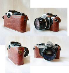 Handmade Brown leather camera case for FMFM2FEFE2 par LoraynLeather, $82.00