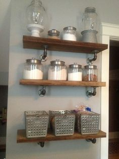 LOVE these industrial style shelves for the kitchen. If I had one large wall i would def do this!!