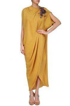 Platinoir Mustard Colored Drape Gown #Platinoir#contemporary#shopnow #ppus #happyshopping
