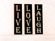 Live Love Laugh - 3 sign set - Primitive Country Painted Wall Sign, vertical 3 sign set, vertical signs, house warming gift,  Ready to Ship by…