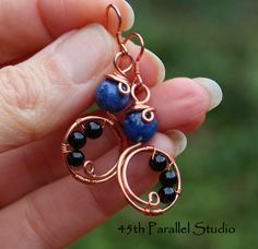 Lapis & Agate Copper Earrings by 45th Parallel Studio