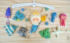 #baby #felt nursery #mobile #minimez #poseidon #etsy #gift #babyshower #plush #toys #cot #crib #hanging #fish #sea #nautical #navy