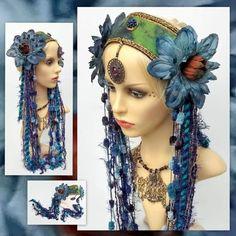 Items similar to Tribal Fusion Headdress - Blue Flowers Fairy Headband - Fantasy Festival Headpiece on Etsy Tribal Fusion, Blue Fairy Costume, Headdress, Headpiece, Belly Dancer Costumes, Belly Dance Belt, Tribal Costume, Dance Hairstyles, Tribal Belly Dance