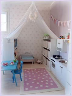 sweet girl space Big Girl Rooms Girl Space Sweet You are in the right place about Kids playroom idea Bonus Room Playroom, Small Playroom, Toddler Playroom, Toddler Rooms, Playroom Ideas, Toddler Bed, Sala Grande, Kid Spaces, Space Kids