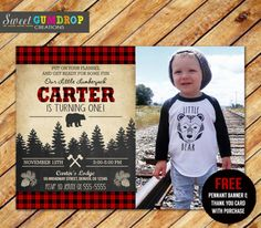 Lumberjack Birthday Invitation - Product 1 - Free Pennant Banner and Thank You Card
