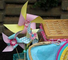 Decorations at a Pinwheel Picnic Party #pinwheel #picnic