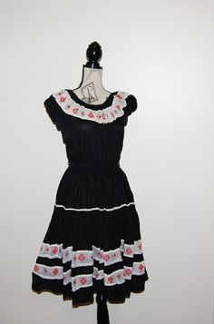 Vintage Rockabilly Dress Black with Swing by CheekyVintageCloset, $32.00