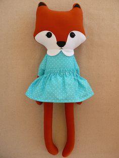 Fabric Fox Doll in Aqua Blue Dress por rovingovine en Etsy, $36.00