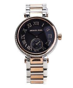 f54de2151ad Another great find on  zulily! Black   Silver Skylar Two-Tone Bracelet Watch